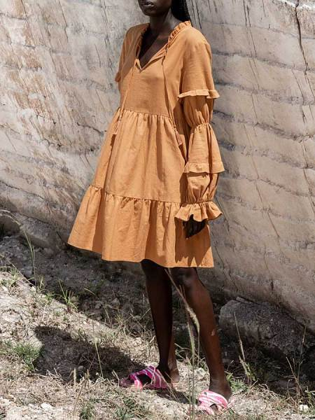 brown tiered linen dress South Africa