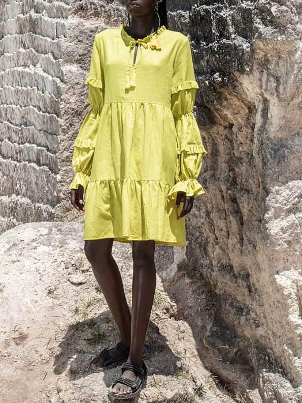 Asha Eleven Safi Linen Dress Limon Front