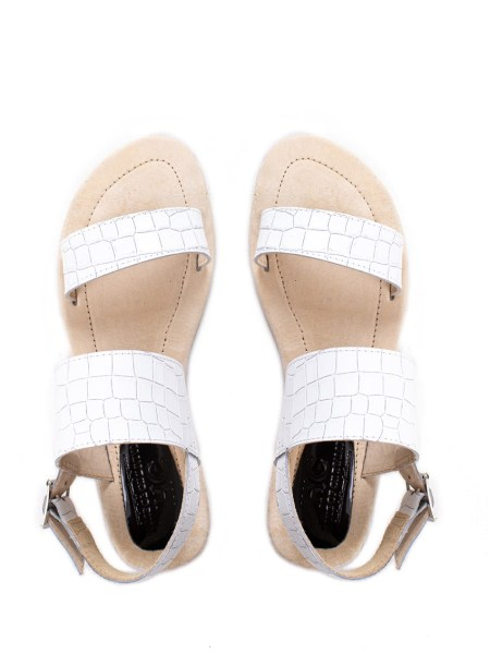 white leather sandals South Africa croc print
