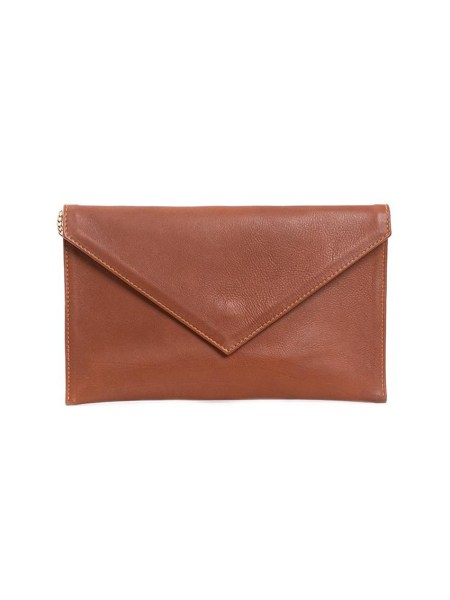 brown leather envelope shaped clutch bag South Africa