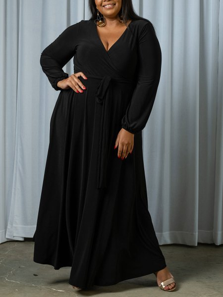 Plus size wrap dress black long sleeve South Africa