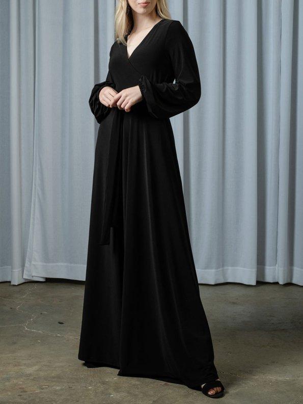 IDV Maxi Wrap Dress Black Front