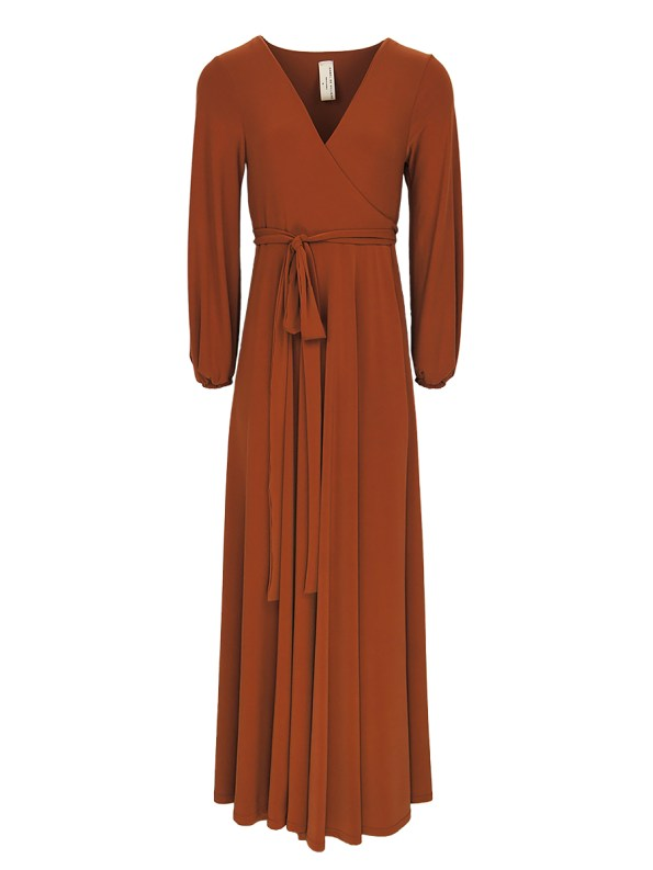 Rust brown maxi wrap dress South Africa