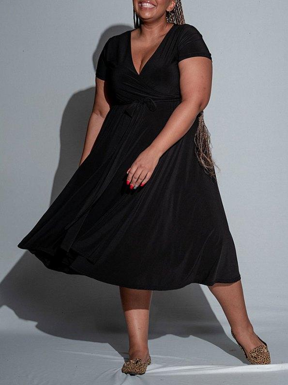 Isabel de Villiers Black Midi Wrap Dress