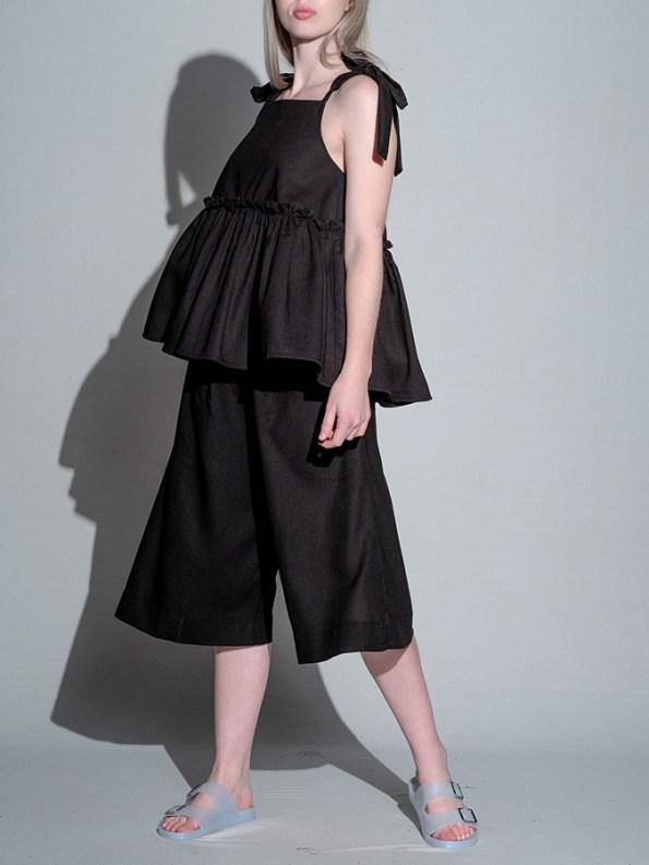 Isabel de Villiers Culottes Black Linen Side