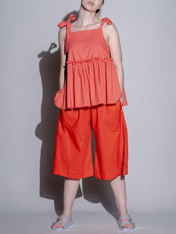 Isabel de Villiers Culottes Linen Deep Orange Front
