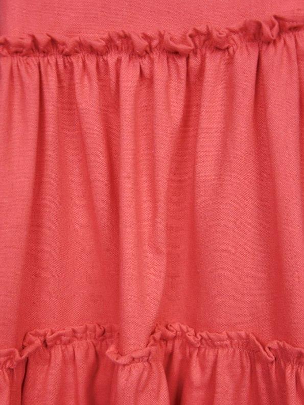 Isabel de Villiers Frill Maxi Dress, Coral Linen Blend Closeup