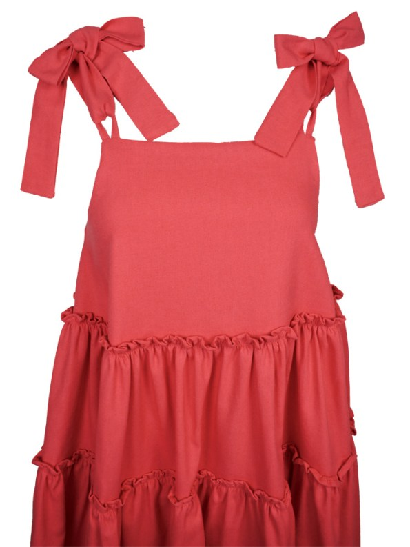 Isabel de Villiers Frill Maxi Dress, Coral Linen Blend Top