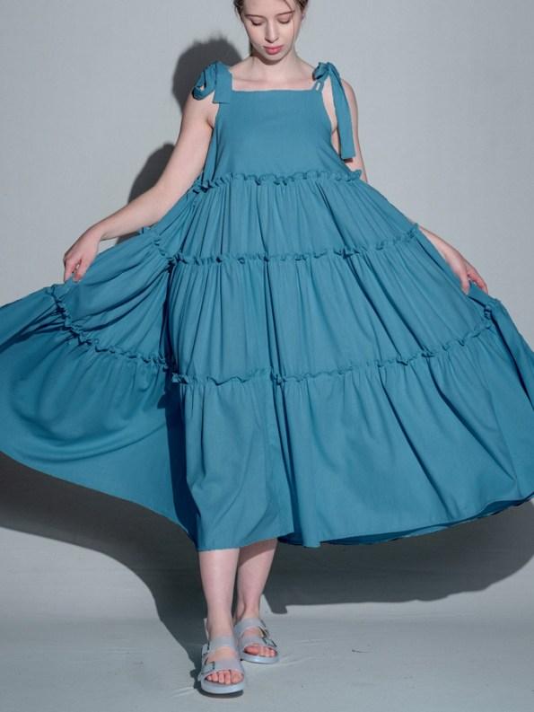 Isabel de Villiers Frill Maxi Dress, Teal Linen Blend Front