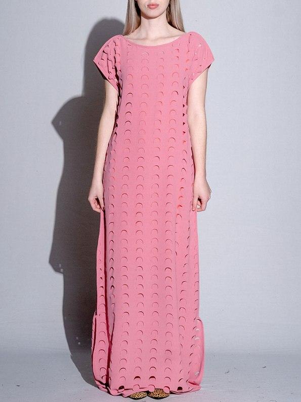Isabel de Villiers Laser Cut Maxi Dress Pink Front