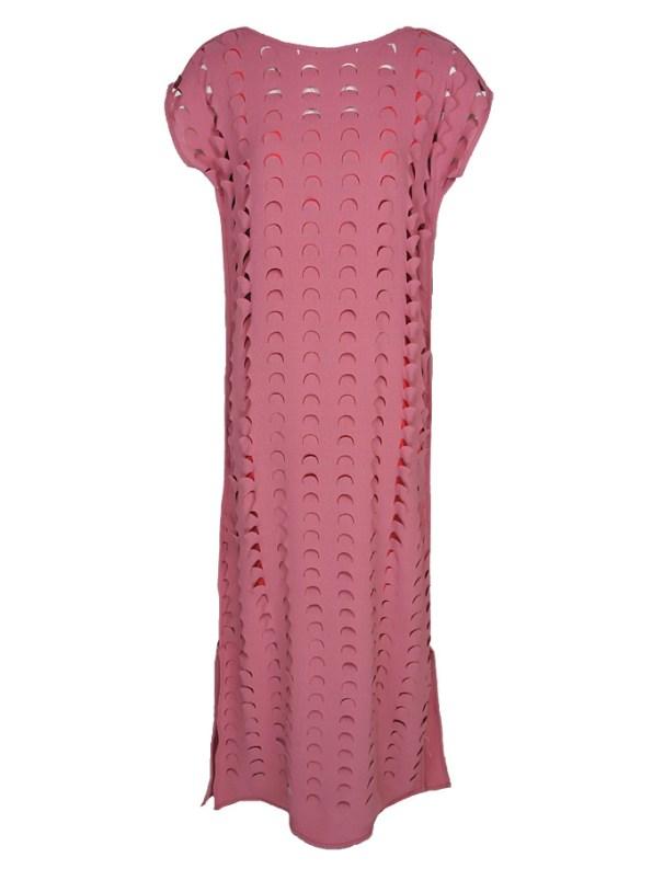 Isabel de Villiers Laser Cut Maxi Dress Pink