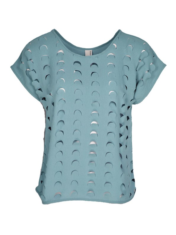 Isabel de Villiers Laser Cut Top Blue