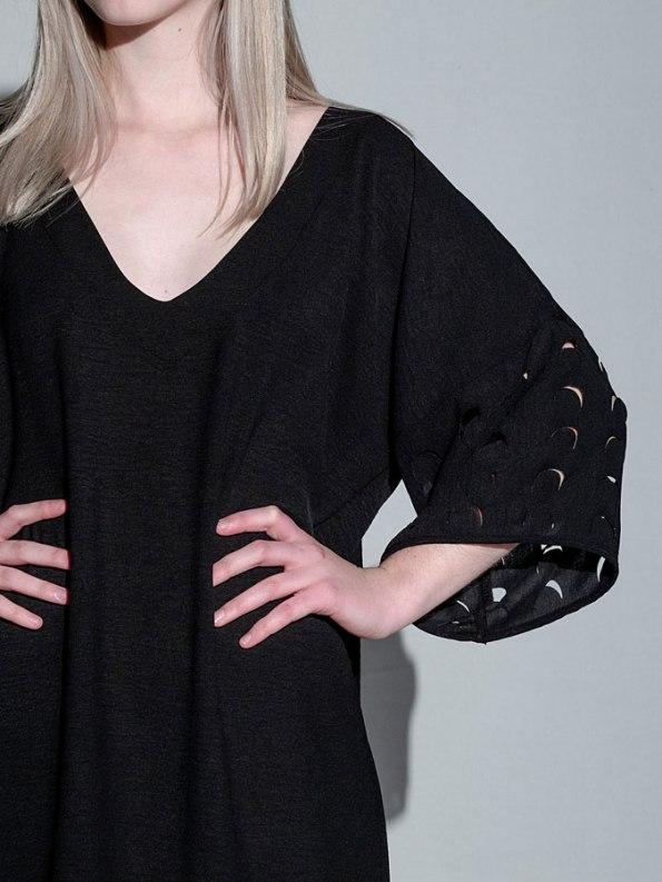Isabel de Villiers Laser Cut Trim Dress Black Detail