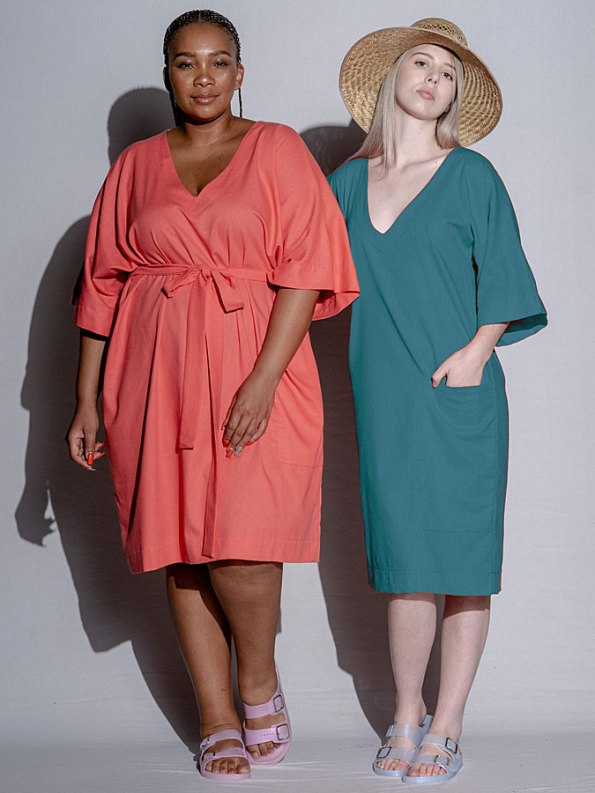 Isabel de Villiers Linen Tunic Dress Teal Both