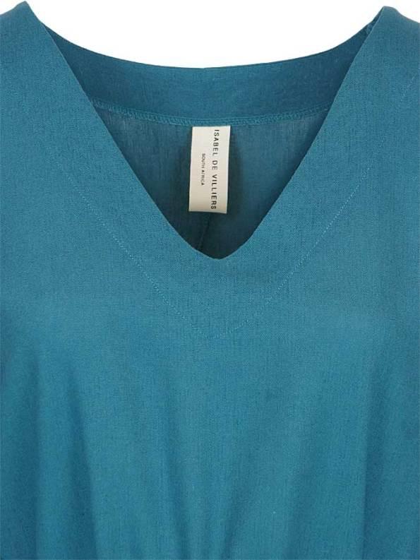 Isabel de Villiers Linen Tunic Dress Teal Closeup