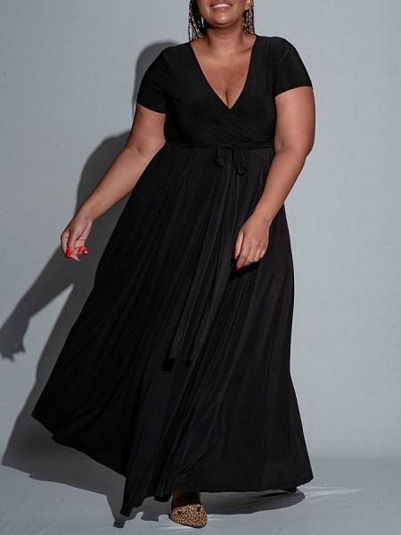 Black wrap maxi dress Plus Size South Africa