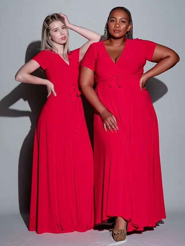 Isabel de Villiers Maxi Wrap Dress Red Both