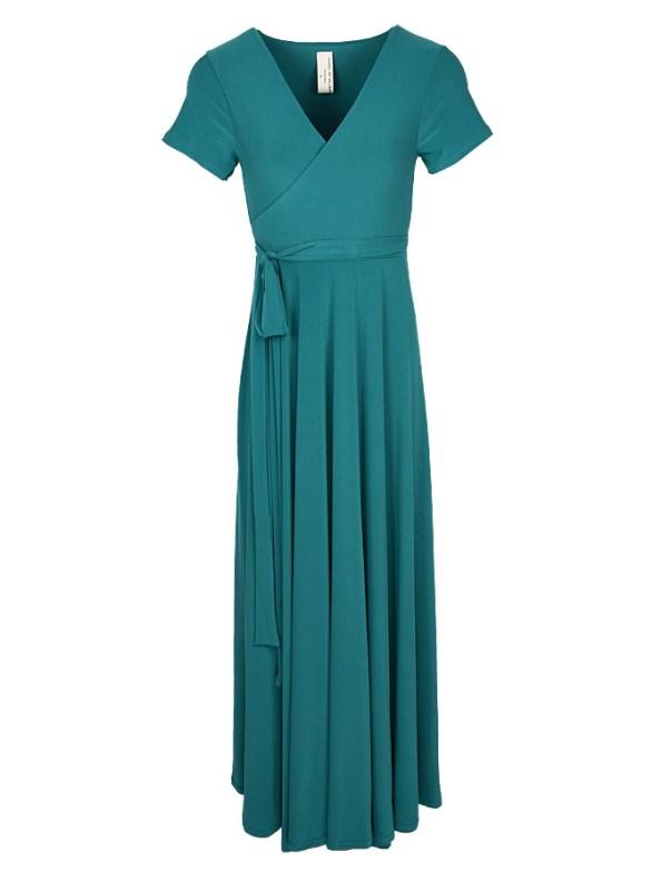 Isabel de Villiers Maxi Wrap Dress Teal
