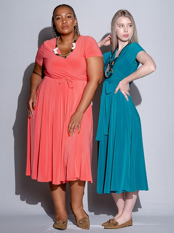 Isabel de Villiers Midi Wrap Dress Coral and Teal