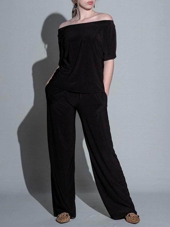 Isabel de Villiers Summer Jumpsuit Black Off Shoulder