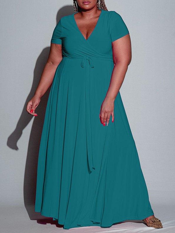 Isabel de Villiers Teal Maxi Wrap Dress Front