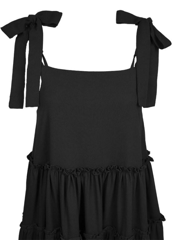 Isabel de Villiers Tiered Maxi Dress, Black Linen Blend Top