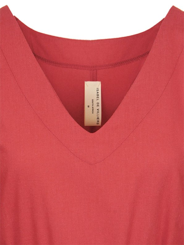 Isabel de Villiers Tunic Dress Coral Closeup