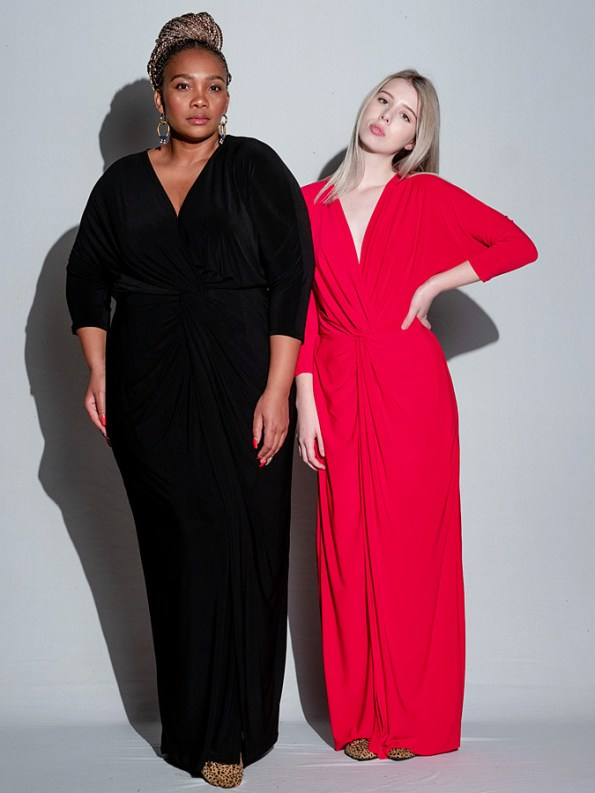 Isabel de Villiers Twist Maxi Dress Black & Red