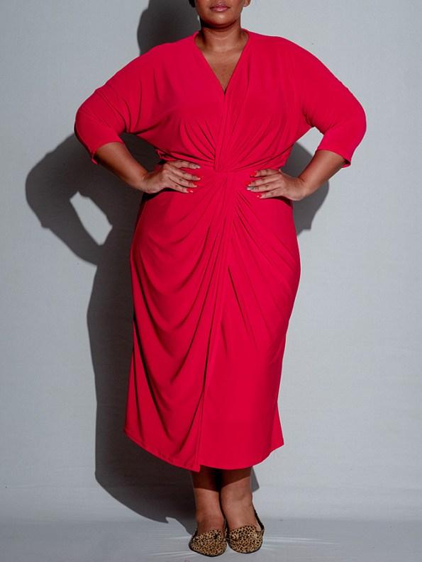 Isabel de Villiers Twist Midi Dress Red Front