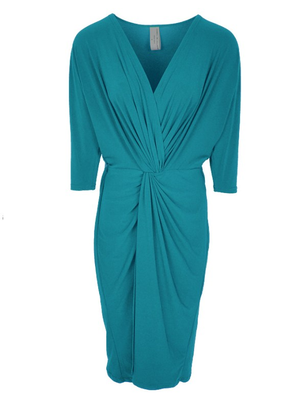 Isabel de Villiers Twist Midi Dress Teal