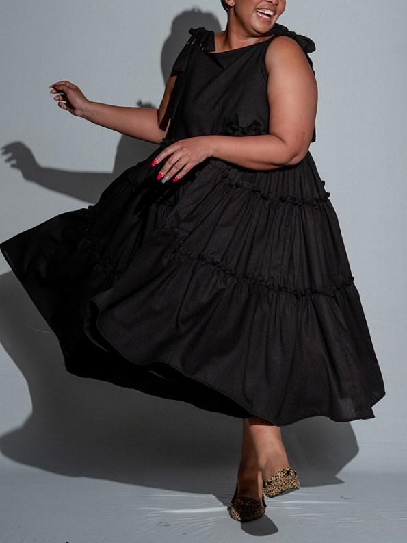 Isabel de Villiers Tiered Maxi Dress, Black Front