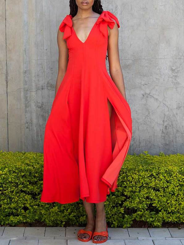 Erre Bow Fit & Flare Dress Fire Front