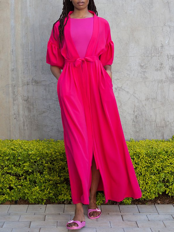 Erre Gather Short Sleeve Cover-up Pink Front