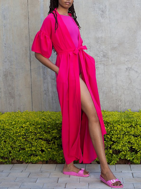 Erre Gather Short Sleeve Cover-up Pink Side
