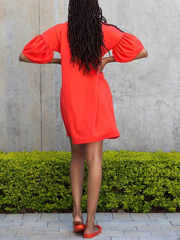Erre Glide Easy-fit Dress Fire Red Back