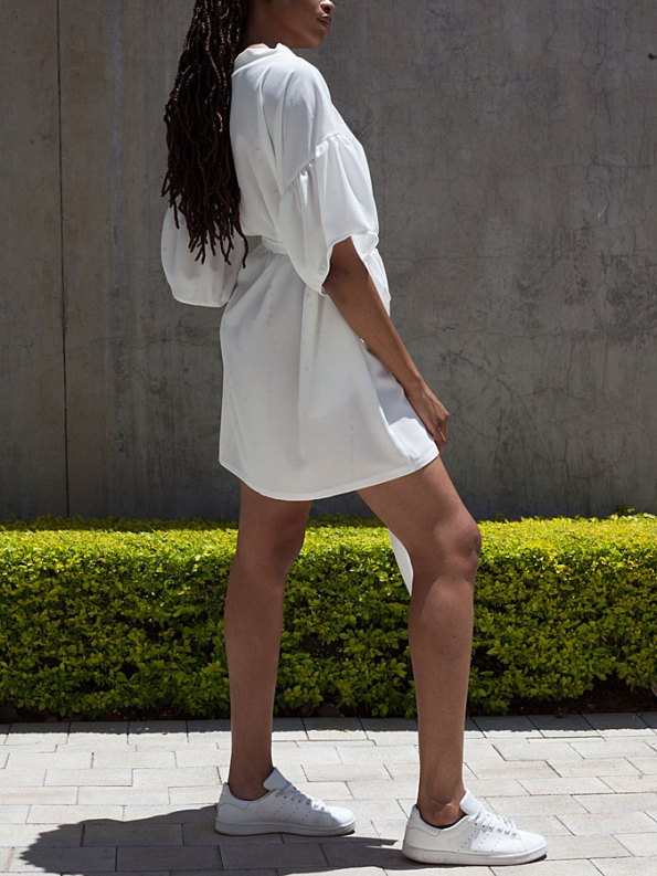 Erre Glide Easy-fit Dress White Back