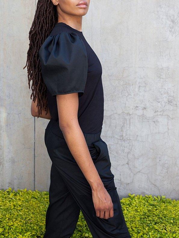 Erre Silhouette T-shirt Black Side Crop