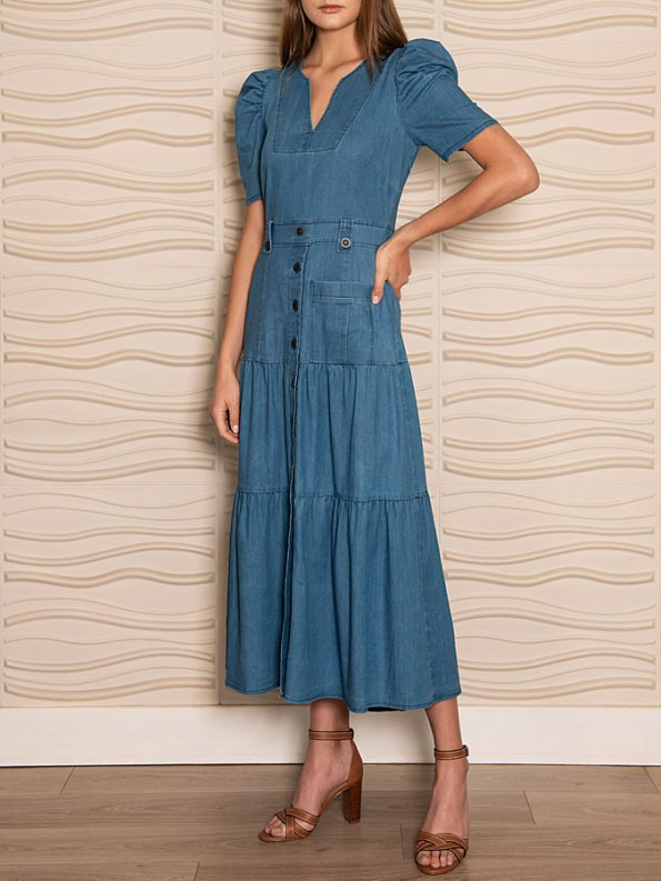 Smudj Denim Midi Dress Side