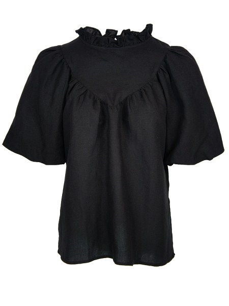 black linen top with puff sleeve South Africa