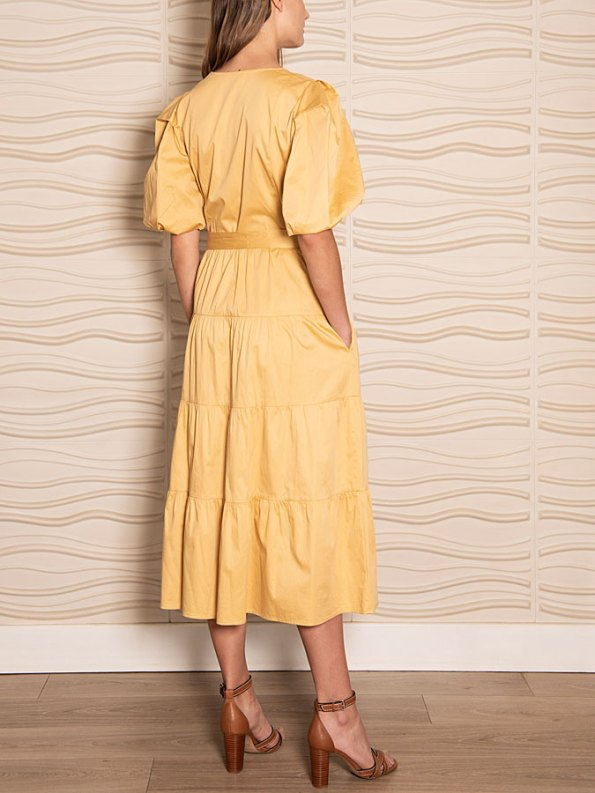 Smudj Puff Sleeve Dress Soft Yellow Side Back
