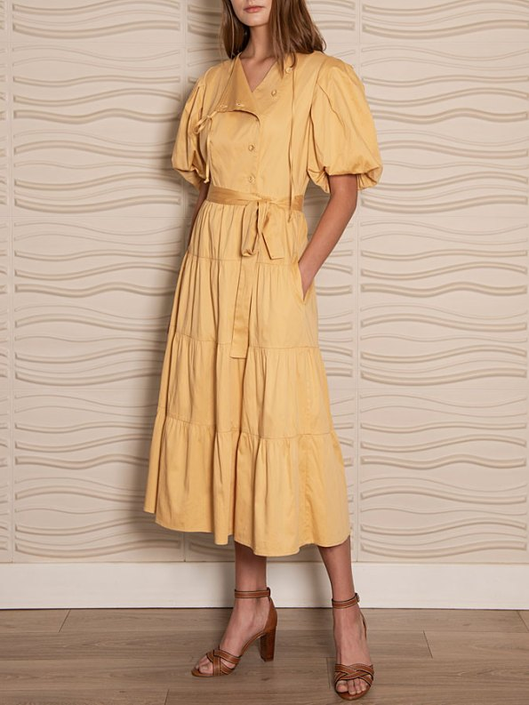 Smudj Puff Sleeve Dress Soft Yellow Side