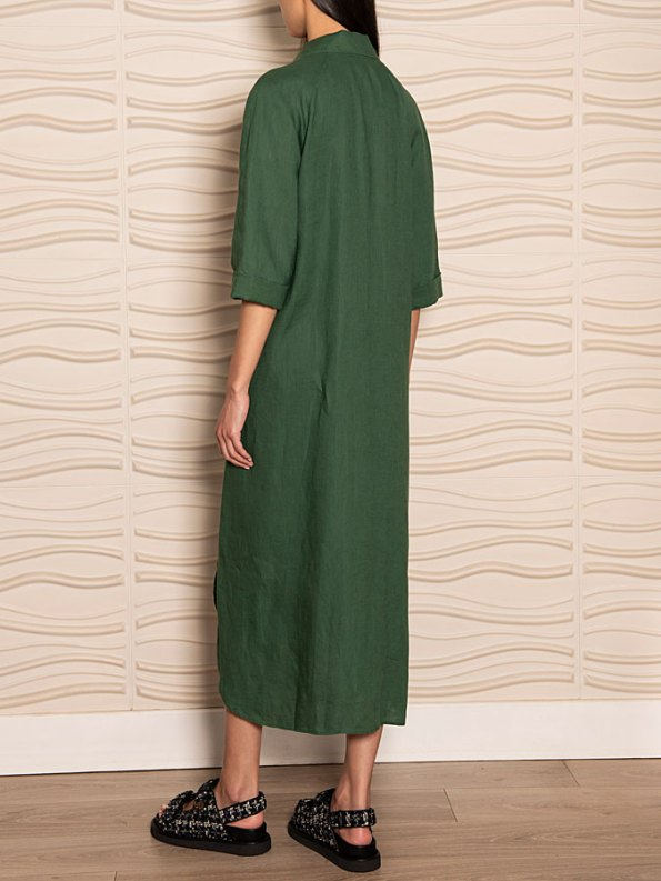Smudj Seeking Silence Linen Dress Green Back