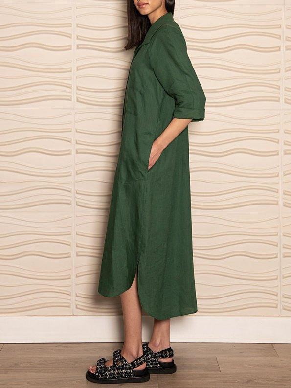 Smudj Seeking Silence Linen Dress Green Pocket