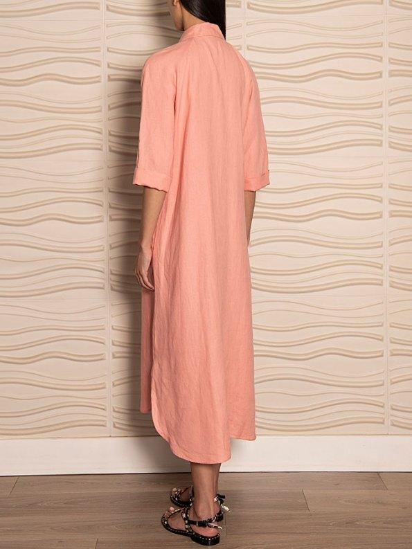 Smudj Seeking Silence Linen Dress Pink Back