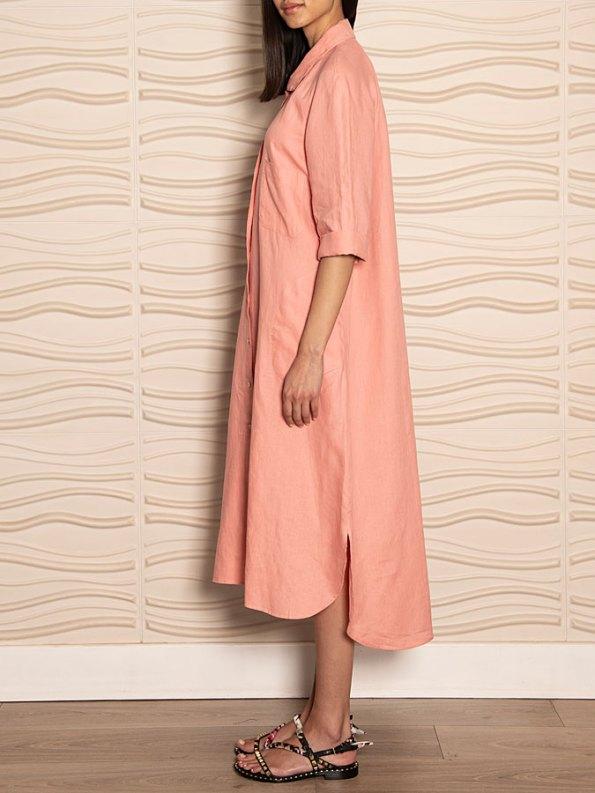 Smudj Seeking Silence Linen Dress Pink Side 2