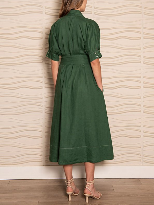 Smudj Wild at Heart Dress Green Linen Back