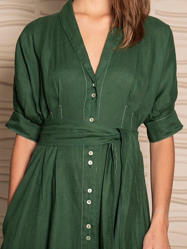 Smudj Wild at Heart Dress Green Linen Cropped