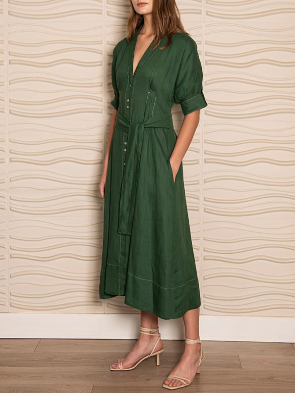 Smudj Wild at Heart Dress Green Linen Side