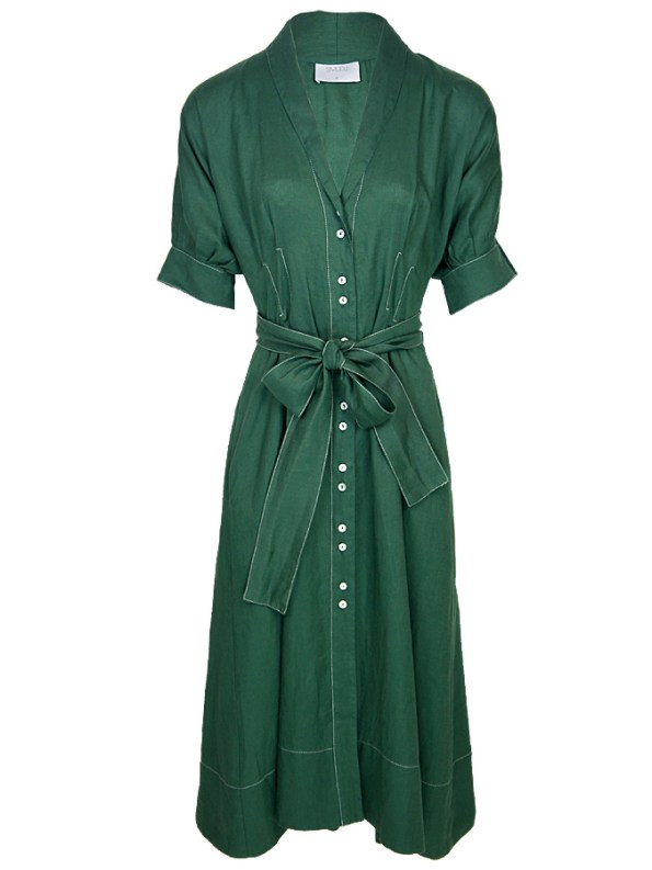 Smudj Wild at Heart Dress Green Linen