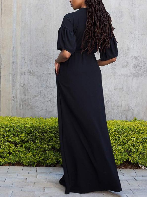 Erre Gather Short Sleeve Cover-up Black Back